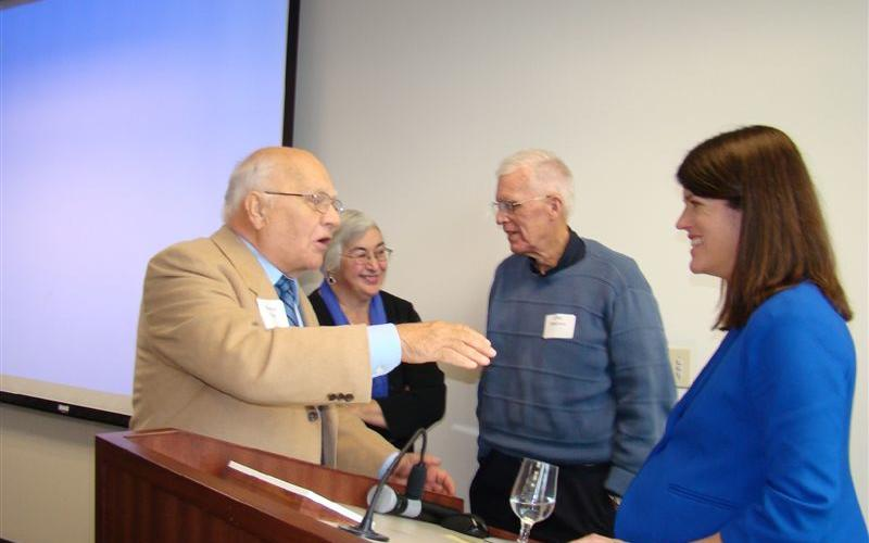 November, 2012 speaker Kathryn Pearson discussed politics with Bob Holt after her presentation analyzing the just-completed election