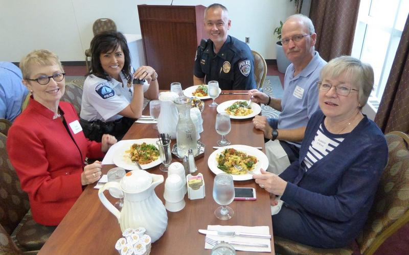 Our September speaker, Minneapolis police chief Janee Harteau and colleagues share lunch with Jean Kinsey and Kathleen OBrien