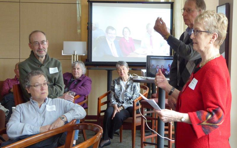 Jean Kinsey and John Anderson introduce UMRA to new 2015-16 members