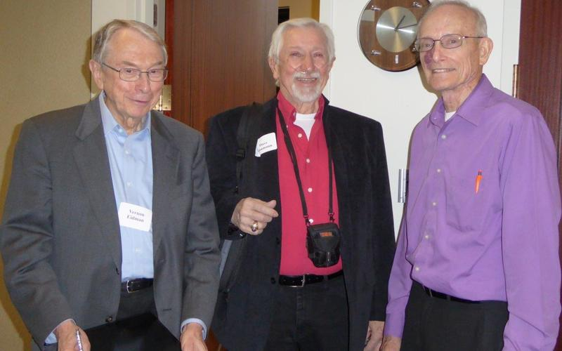 Vern Eidman, David Naumann, and Andy Whitman share a break at the November 2015 workshop