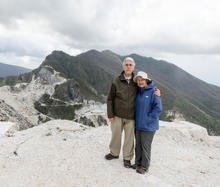 Craig and Janet Swan at the Carrara marble quarries in Italy