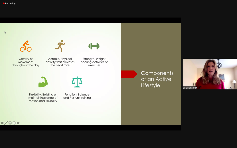 Screenshot: Components of an active lifestyle