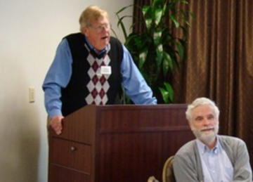 President-Elect Calvin Kendall introduces Petter Hudleston, Prof. of Geology and Luncheon Speaker, Oct. 26. 2010