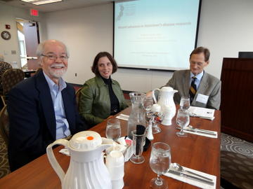 Board member Judd Sheridan, speaker Kathleen Zahs, and President Ron Anderson at the October 2012 luncheon