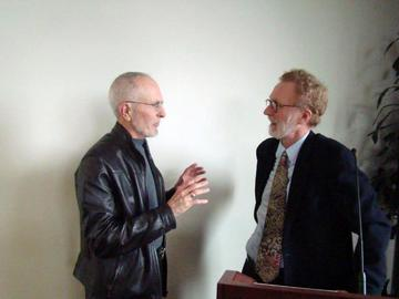 Clif Ware chats with speaker Tom Fisher after his January 27 presentation