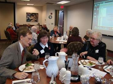 Ron Anderson, Julie Medbery, and our Speaker Joanne Eicher at February 2012's Luncheon