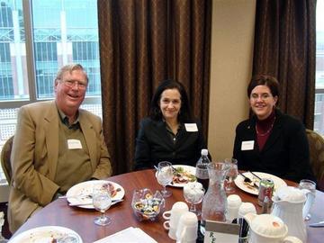 President Calvin Kendall with Jane Godfrey and Lynn Praska of the UM Foundation