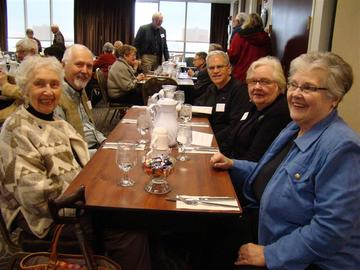 Jan Hogan and Joanne Eicher at right with 3 other members await November's luncheon