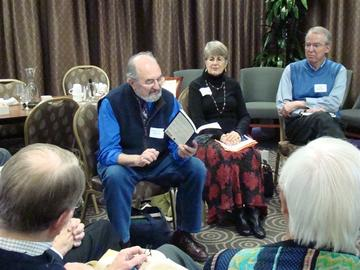 Michael Dennis Browne, Elizabeth Johnson, Ted Bowman take rurns reading poetry at the November Living Well Workshop