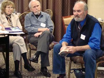 Harriet and Ira Reiss listen to Michael Dennis Browne