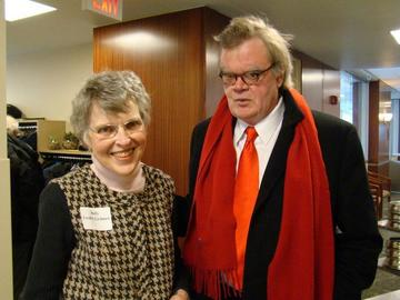 Judy Leahy Grimes welcomes Garrison Keillor to the Feb luncheon meeting