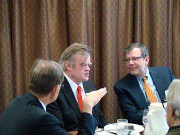 UM President Kaler and UMRA President Anderson at the head table with February 26 guest speaker Garrison Keillor