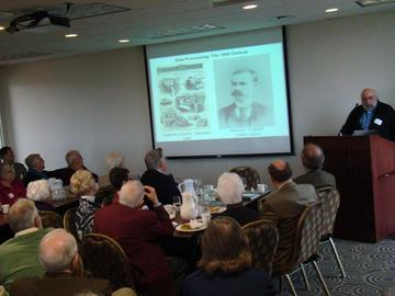Steve Ruggles describes the history of the USA Census to an attentive audience at the October 29, 2013 Luncheon