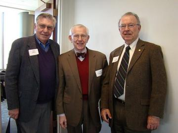 President-elect Hal Miller, February speaker Lowell Noteboom, and UMRA President John Adams pose before the February 2014 luncheon meeting