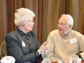 Van Linck and Earl Nolting in animated discussion at the February meeting