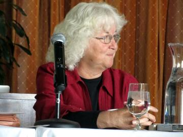 """Carol Miller interested us all in Canadian Native author Thomas King's """"Dead Dog Cafe,"""" subject of her PDGR research"""