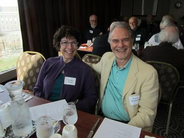 Marilyn Joseph and Warren Regelmann await luncheon service