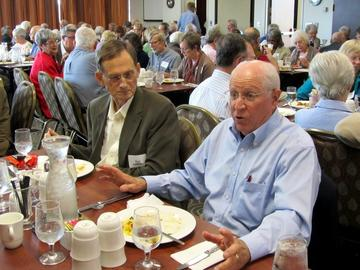 Ron Anderson with Speaker Skip Humphrey prior to Skip's talk at the September 23, 2014 Luncheon