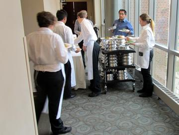 Dinner has arrived and the servers are serving! At the October 28 meeting