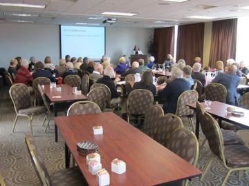 More than 40 attended the first session on housing options by Becky Yost and Marilyn Bruin
