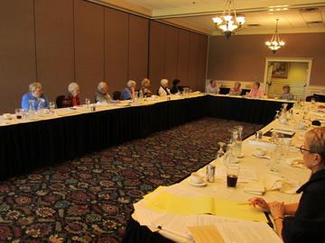 Officers and Board members meet to plan for 2016-7  on August 11 at Midland Hills