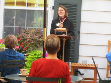 Karen Kaler spoke to the crowd about volunteering at the annual Eastcliff reception
