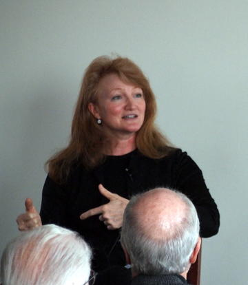 """Public Radio's Krista Tippet shared her thoughts """"on being"""" with an enthralled audience during the Q&A with UMRA President Ron Anderson at March luncheon"""