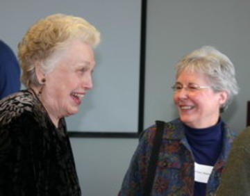 Jeanne Lupton enjoying a good laugh with Ginny Hanson on January 2008 luncheon