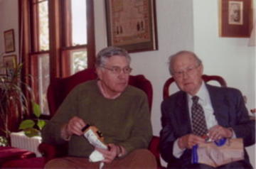 Hal Miller, UMRA President for 2008-2009 with Gerhard Weiss at UMRA Spring, 2008 Planning Meeting