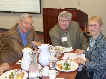 February speaker Michael Osterholm at lunch with President Hal Miller and President-elect Jean Kinsey