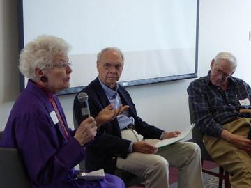 Van Linck, Harlan Hanson, and Robert Kane participate in a panel discussion about caregiving, anfter Dr. Kanes presentation of the topic