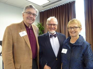 Past president Hal Miller (left) and incoming president Jean Kinsey (right) welcomed Vern Sutton to the Gala Luncheon.