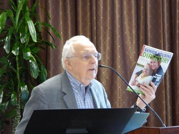 Recalling the past year's workshops on housing decisions and choices, Cares committee chair Earl Nolting directs attention to a copy of the latest Senior Housing directory, now available.