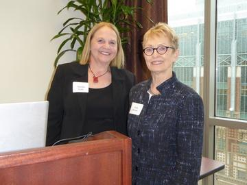 President Jean Kinsey introduces workshop leader Martha Feda, after the November 2015 luncheon