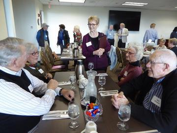 New President Jean Kinsey welcomes retirees to the first luncheon of the year, September 27, 2016