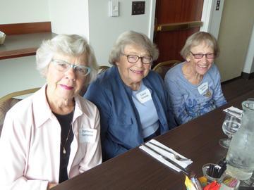 Darlene Kenyon, Carol Urness, and Dorothy Bohn at the September luncheon