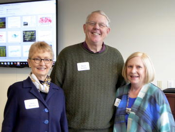 Speaker Mark Seeley with Presidents Jean Kinsey and Donna Peterson at the January luncheon