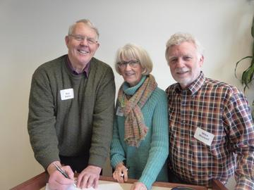 Mark Seeley poses with Jeanne and Mike Markell, after his Jan 24 presentation