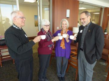 Members enjoy coffee before the March 2017 luncheon meeting