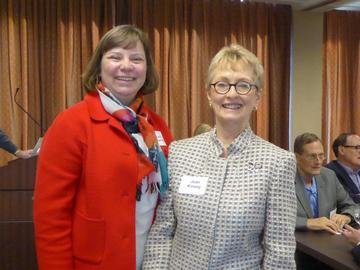 President Jean Kinsey with our March 2017 speaker, State Economist Laura Kalambokidis